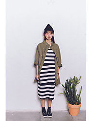 Women's Casual/Daily Simple Trench Coat,Solid Turtleneck Long Sleeve Spring / Fall Green Polyester