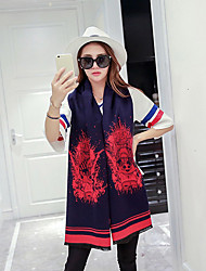 Women Acrylic Scarf,Casual Rectangle,Red / Black / Blue / Gray