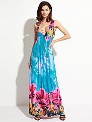 curva doce mulheres de vestido de férias / plus size boho, floral profunda v maxi azul sem mangas de poliéster / spandex verão