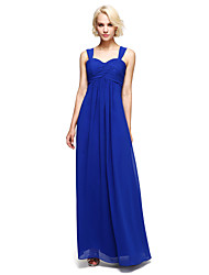 Floor-length Chiffon Bridesmaid Dress - Sheath / Column V-neck with Side Draping