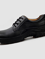 Men's Oxfords Spring Fall Winter Platform PU Casual Low Heel Lace-up Black Brown Others