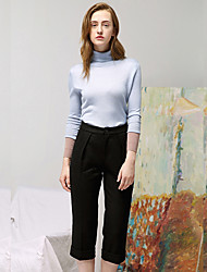 Mulheres Calças Simples Chinos Lã Micro-Elástica Mulheres