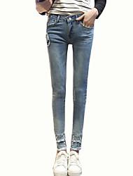 Mulheres Calças Simples Jeans Elastano Mulheres