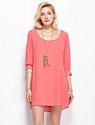 Ample Robe Femme Sortie simple,Couleur Pleine Col Arrondi Mini Manches ¾ Rouge Polyester Eté Taille Normale Non Elastique Fin