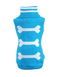 Cat / Dog Sweater Blue / Pink Dog Clothes Winter / Spring/Fall Bone Casual/Daily