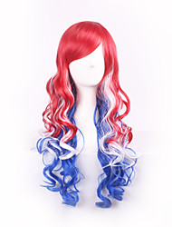 Red Blue White Ombre Feature Material Wigs for Women Style Shown Color Costume Wigs Cosplay Wigs