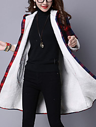 Women's Long Padded Coat Street chic Casual/Daily Plaid-Cotton / Linen Wool Long Sleeve Hooded Red / Green Winter