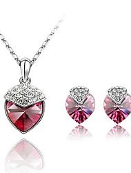 Schmuckset Kristall Modisch Purpur Rose Grün Blau Halsketten Ohrringe Für Alltag 1 Set Hochzeitsgeschenke