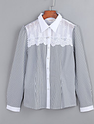 Women's Lace Print Stripe Long Sleeve Chiffon Shirt