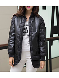 Women's Long Padded Coat,Simple Going out Solid-Cotton Polypropylene Long Sleeve Stand Black