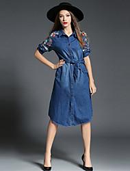 Denim Robe Femme Sortie / Décontracté / Quotidien simple,Broderie Col de Chemise Mi-long ½ Manches Bleu Coton / PolyesterToutes les