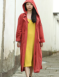 Cynthia Women's Casual/Daily Simple Trench CoatSolid Hooded Long Sleeve Spring / Fall Red Linen Medium