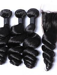 Trame cheveux avec fermeture Cheveux Malaisiens Ondulation Lâche 12 mois 4 Pièces tissages de cheveux
