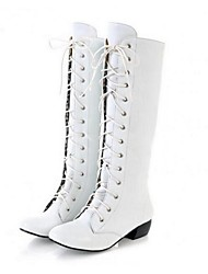 Для женщин Ботинки Армейские ботинки Полиуретан Весна Осень Зима Повседневные Армейские ботинки Шнуровка На толстом каблукеБелый Черный