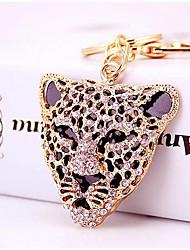 moda requintada diamante leopardo chaveiro cabeça do carro