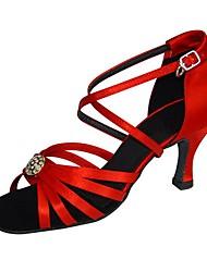 Customizable Women's Ballroom Latin Dance Shoes Satin Jazz / Swing Shoes / Salsa Sandals / Heels Customized HeelPractice / Beginner