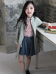 Mädchen Anzug & Blazer-Lässig/Alltäglich einfarbig Baumwolle Herbst Grün
