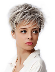 6 Synthetic Short Blonde Hair Wig Dark Root Female Pixie Cut Wig African American Wig For Women Cosplay Wig