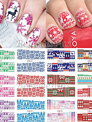 New 12 Christmas Styles Water Transfer Nail Art Stickers Full Cover Decals Snowflake DIY Decoration For XMAS BN241-252