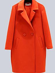 Damen Solide Einfach Lässig/Alltäglich Mantel,Winter Langarm Rosa / Orange Wolle