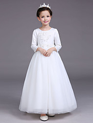 A-line Tea-length Flower Girl Dress - Cotton Satin Tulle Jewel with Appliques Pearl Detailing