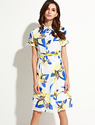Women's Vintage Print A Line Dress,Shirt Collar Knee-length Polyester