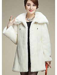 Women's Casual/Daily Simple Coat,Solid Long Sleeve Winter White / Black Faux Fur