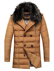 Пальто Уличный стиль Пуховик Мужчины,Однотонный Большие размеры Полиэстер Пух белой утки,Длинный рукав Рубашечный воротникЧерный /
