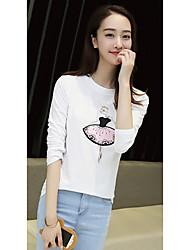 Damen Druck Einfach Lässig/Alltäglich T-shirt,Rundhalsausschnitt Herbst Langarm Weiß Baumwolle Dünn