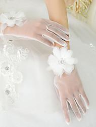 Wrist Length Fingertips Glove Tulle Bridal Gloves Spring Summer Fall Winter Floral