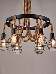 6 heads Vintage Hemp Rope Pendant Lights Metal Cage Design Living Room Dining Room Kitchen Bar Cafe Light Fixture