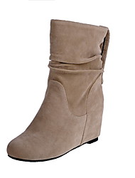 Women's Low Top Pull On High Heels Round Closed Toe Boots with Metal Nail