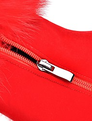 Damen-Stiefel-Büro Lässig-Kunstleder-Blockabsatz-Modische Stiefel-Schwarz Rot