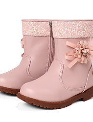 Girl's Boots Spring / Fall / Winter Comfort Leatherette Party & Evening / Dress / Casual Chunky HeelSatin Flower / Sparkling Glitter /