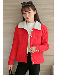 Women's Casual/Daily Cute Jackets,Solid Square Neck Long Sleeve Fall / Winter Pink / Red / Green / Yellow Cotton Medium