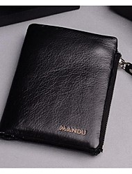 Men Cowhide Professioanl Use Wallet Black Coffee