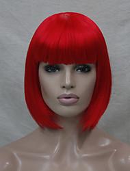 Mujer Pelucas sintéticas Sin Tapa Liso Rojo Corte Bob Peluca de cosplay Peluca de Halloween Peluca de carnaval Las pelucas del traje
