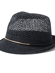 Unisex Summer Casual England Hollow Weaving Jazz Hat Couple Beach Straw Hat