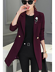 Women's Casual/Daily Simple Trench Coat,Solid Long Sleeve Red / Black Wool