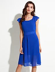 Mulheres Bainha Vestido,Tamanhos Grandes Moda de Rua Sólido Decote Redondo Altura dos Joelhos Manga Curta Azul / Preto Poliéster Verão