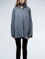 Chocolatone Women's Casual/Daily Simple CoatSolid Stand Long Sleeve Fall / Winter Gray Wool Medium
