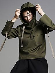 Damen Standard Hoodies-Ausgehen / Lässig/Alltäglich Einfach Solide Grün Mit Kapuze Langarm Baumwolle / Nylon / Elasthan Herbst Mittel