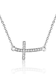 Shiny Silver Tone Cross Pave Crystal Charming Necklace