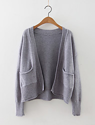 Women's Casual/Daily Simple Regular Cardigan,Solid Blue / Pink / Black / Gray / Green Halter Long Sleeve Cashmere / Polyester Fall Medium