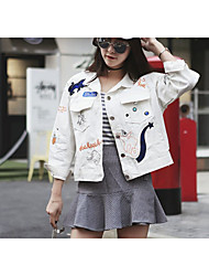 Women's Casual/Daily Street chic Denim Jackets,Animal Print Shirt Collar Long Sleeve Spring / Fall White Cotton Medium