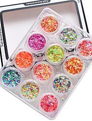 1 set 12 dicas pacote de unhas rodada brilhante mista cor e tamanho 1 milímetro&2 milímetros&3 milímetros