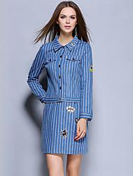 Women's Going out Street chic Skirt Suits,Striped Shirt Collar Long Sleeve Blue Cotton