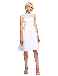 2017 TS Couture® Cocktail Party Dress A-line High Neck Knee-length Satin with Appliques