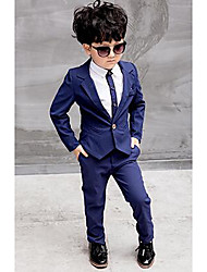 Boys' Formal Solid Sets,Polyester All Seasons Long Sleeve Shirt Suit & Blazer