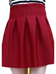 Damen Röcke - Retro / Einfach Mini Baumwolle / Kunstseide Mikro-elastisch